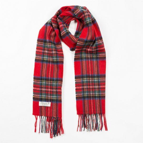 Irish Wool Scarf Medium Red Royal Stewart Tartan