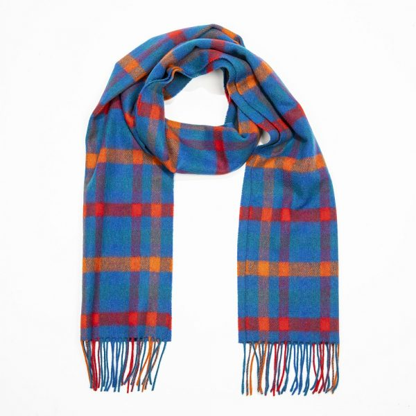 Irish Wool Scarf Medium Blue Orange Red Check