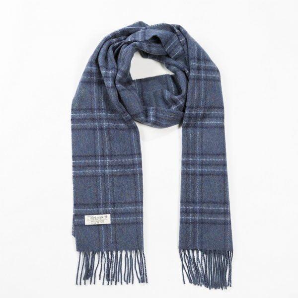 Irish Wool Scarf Medium Indigo Overcheck