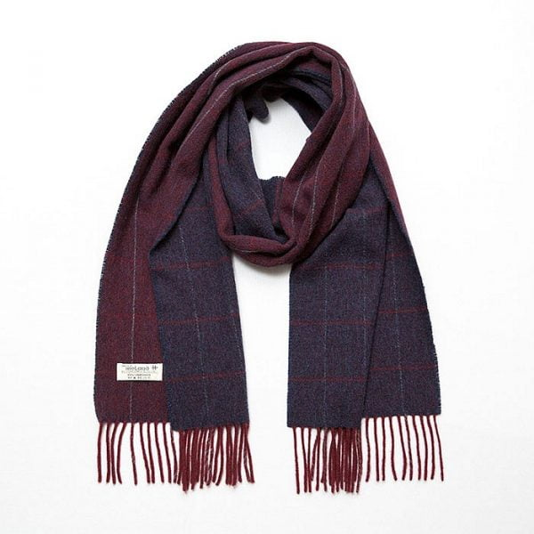 Irish Wool Scarf Medium 3/1 Twill Burgundy and Navy Window Pane