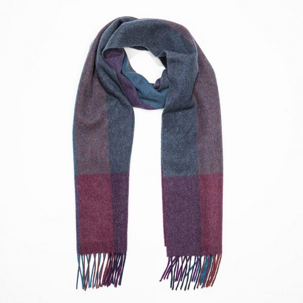 Irish Wool Scarf Medium Navy Rust Teal Purple Herringbone Stripe