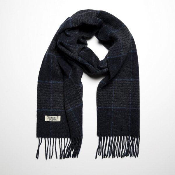 Irish Wool Scarf Medium Charcoal Indigo Glencheck
