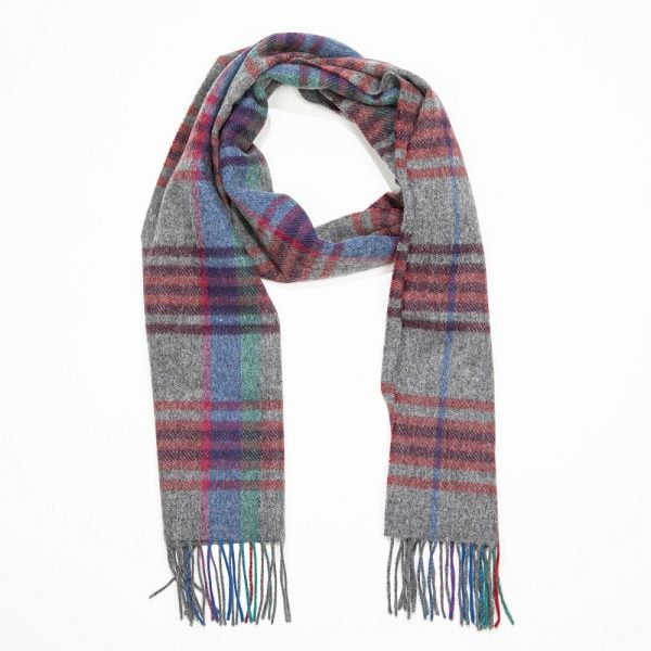 Irish Wool Scarf Medium Grey Red Blue Check