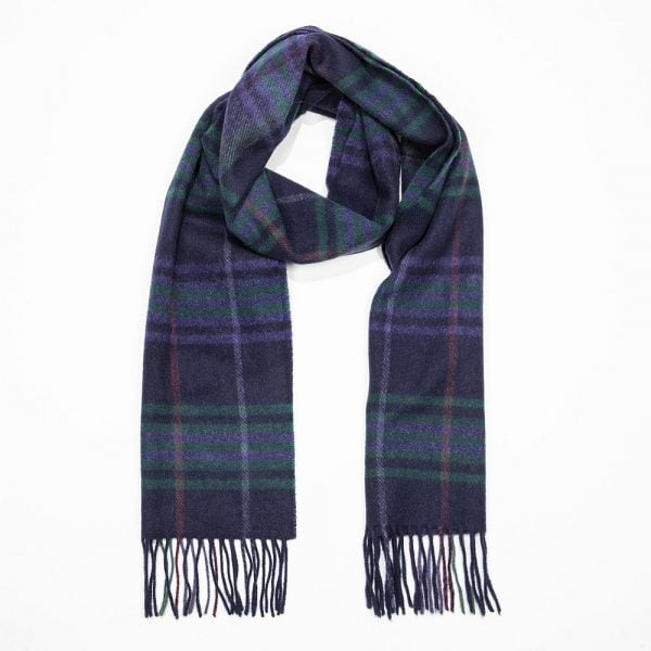Irish Wool Scarf Medium Navy Green Purple Plaid