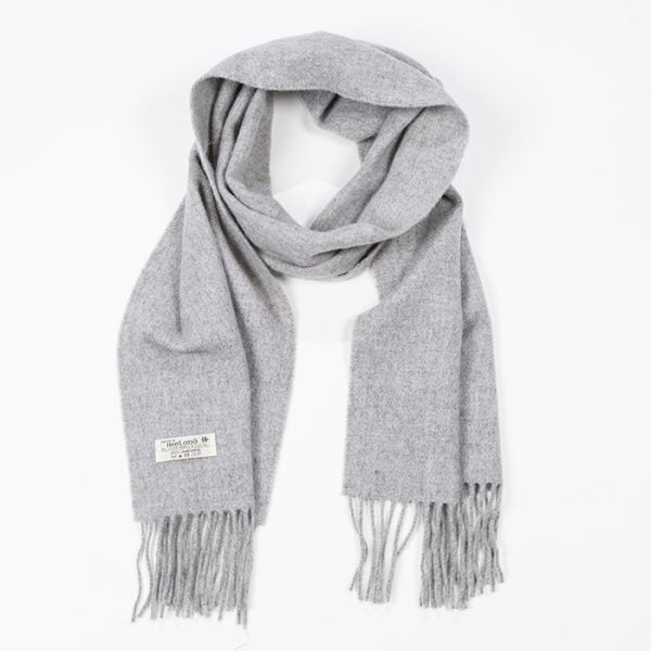 Irish Wool Scarf Medium Solid Silver Grey