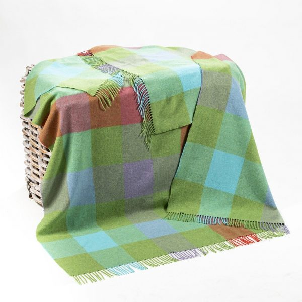 Lambswool Throw Green Aqua Lilac Pink Block Check