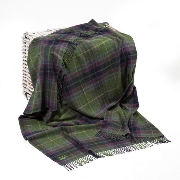 Lambswool Throw Green Navy Purple Plaid