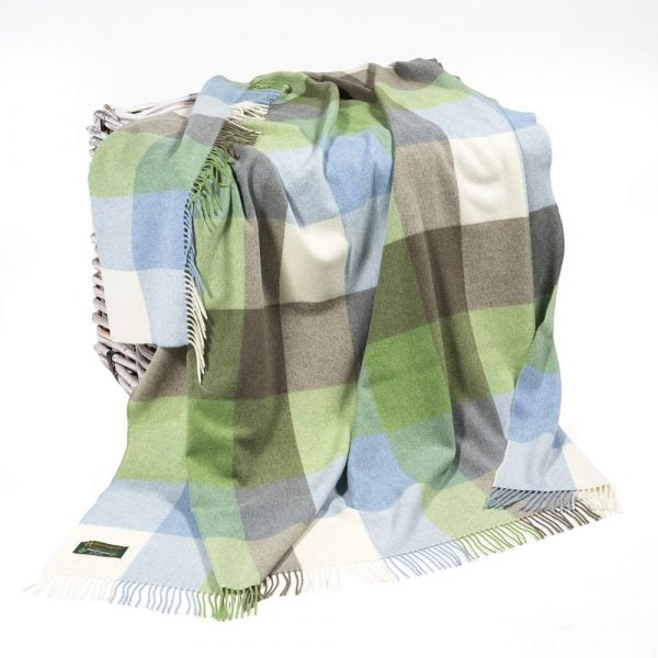 Lambswool Throw Cream Baby Blue and Green Block Check