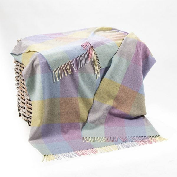 Lambswool 100% Throw Pink Blue Yellow Lilac Block Check