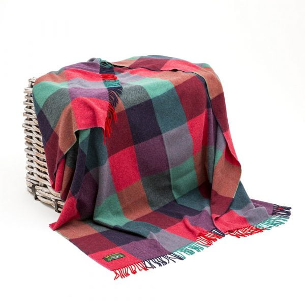 Lambswool Throw Bright Pink, Purple and Teal Block Check