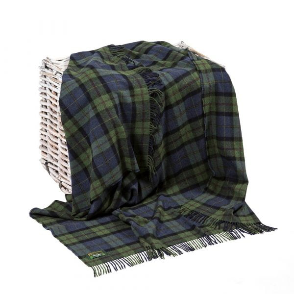 Lambswool Throw Denim Green Plaid
