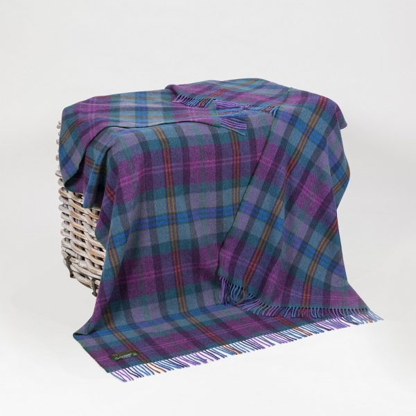 Lambswool 100% Throw Purple Blue Green and Orange Tartan