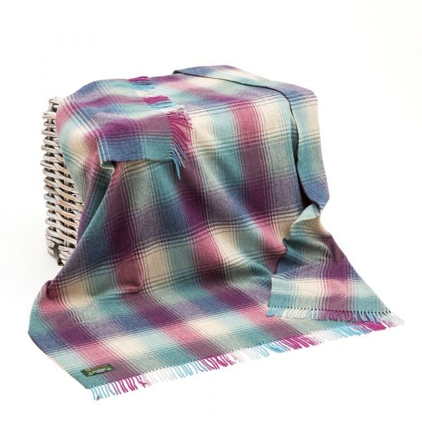 Lambswool 100% Throw Aqua Pink and Teal Check