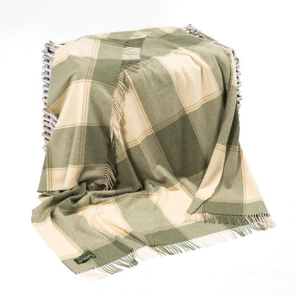 Lambswool Throw Green and Cream Check