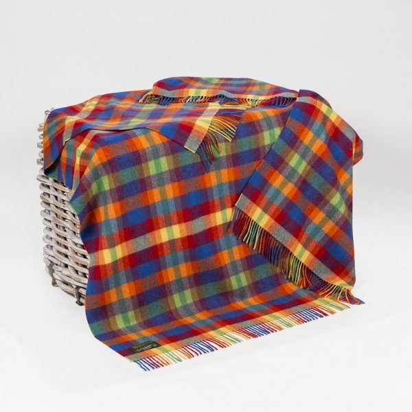 Lambswool 100% Throw Bright Yellow Orange Red and Blue Small Check