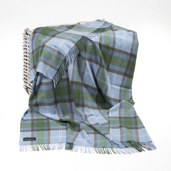 Lambswool Throw Baby Blue Green and Taupe Check