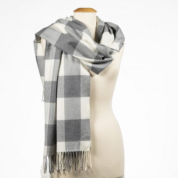 Oversized Merino Scarf Grey and Cream Buffalo Check