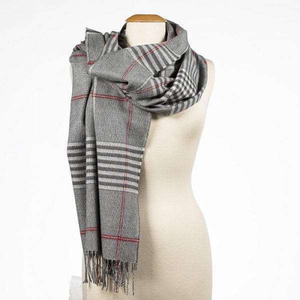 Oversized Merino Scarf Grey Cream Red Check