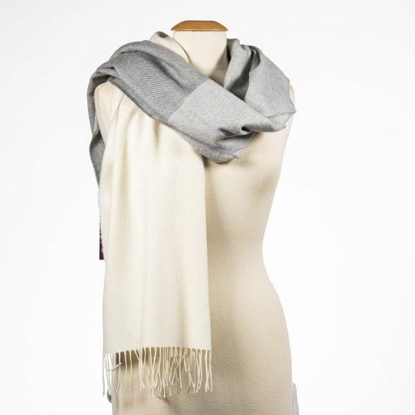 Oversized Merino Scarf White Silver Grey Stripe