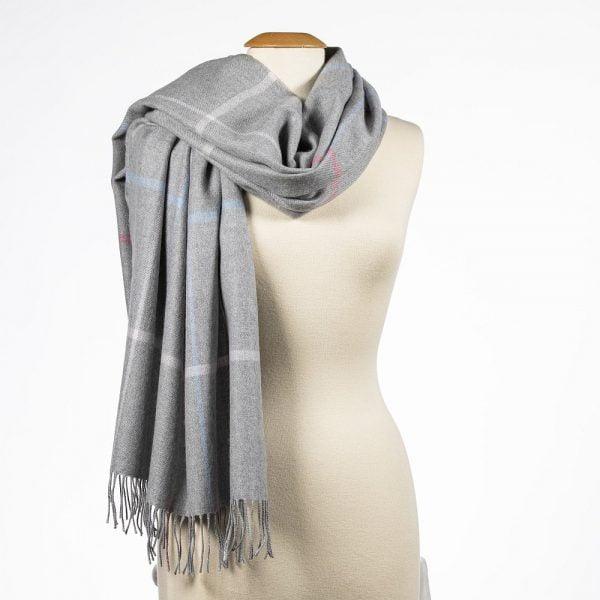 Oversized Merino Scarf Silver Grey Pink Blue Overcheck