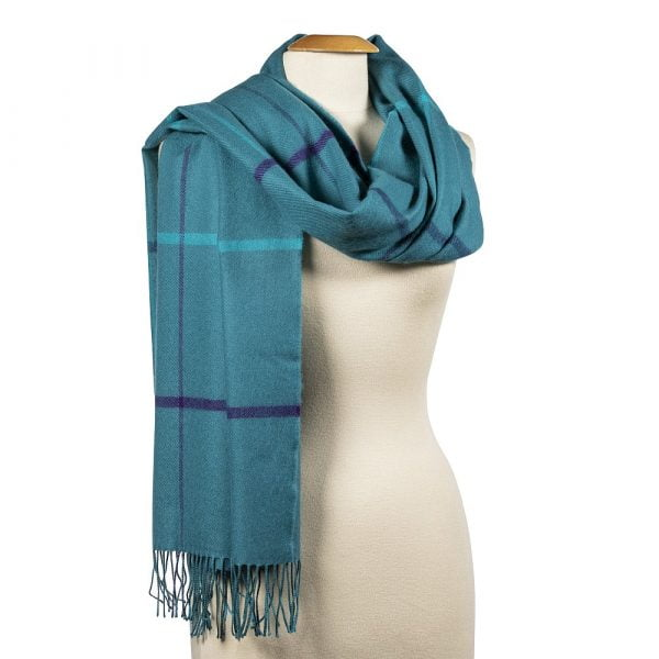 Oversized Merino Scarf Teal Blue Purple Check