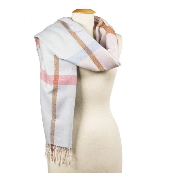 Oversized Merino Scarf Baby Blue, Baby Pink Mix Check