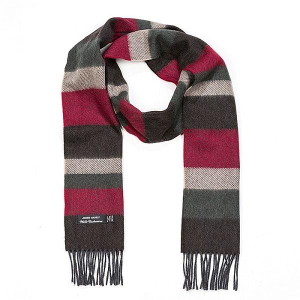 Irish Cashmere Wool Scarf Red & Grey Mix Stripes