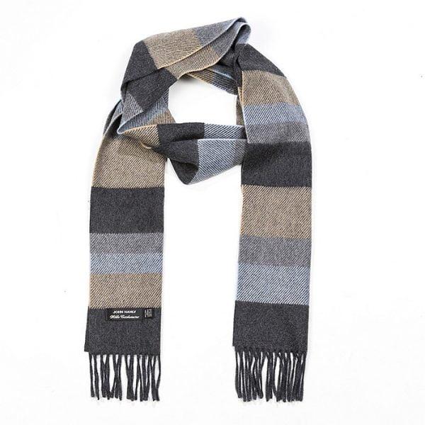 Irish Cashmere Wool Scarf Denim Taupe Grey Weft Stripe