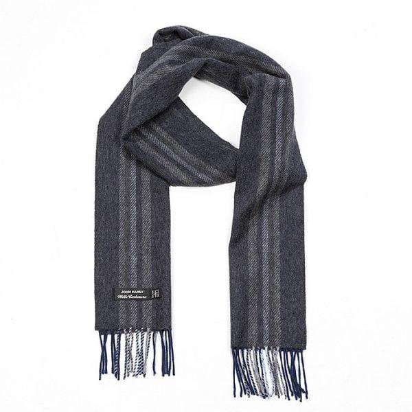 Irish Cashmere Wool Scarf Grey Mix & Brown Warp Style