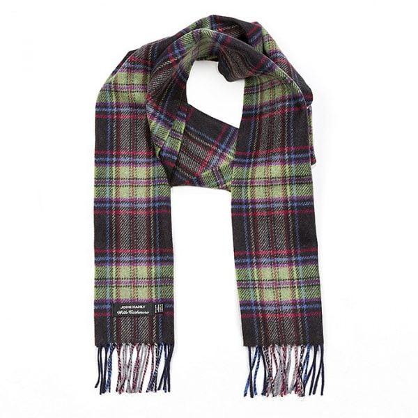 Irish Cashmere Wool Scarf Dark Brown Green Check Plaid