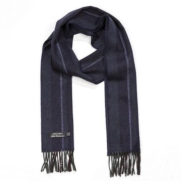 Irish Cashmere Wool Scarf Grey and Blue Warp Stripe