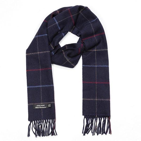 Irish Cashmere Wool Scarf Navy Red and Denim Window Pane