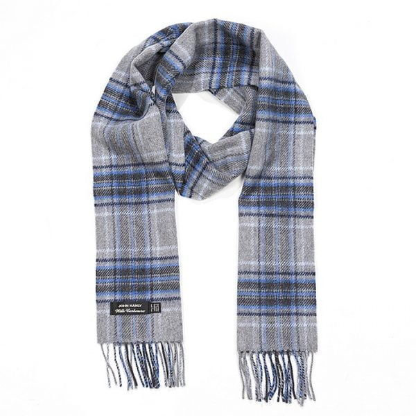 Irish Cashmere Wool Scarf Pale Grey Navy & Pale Blue Tartan