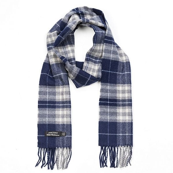 Irish Cashmere Wool Scarf Navy Grey White Plaid