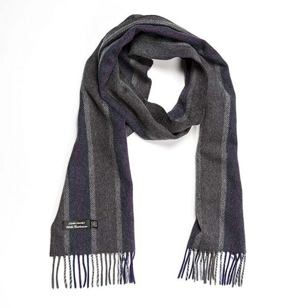 Irish Cashmere Wool Scarf Grey Mix Pale Blue