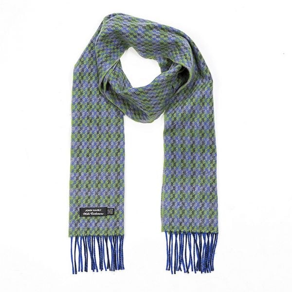 Irish Cashmere Wool Scarf Blue Green Grey Check