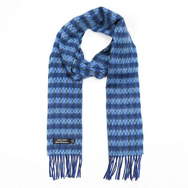 Irish Cashmere Wool Scarf Blue Aqua Check