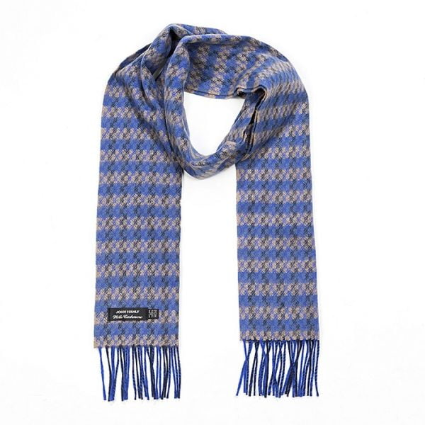 Irish Cashmere Wool Scarf Blue Beige Check