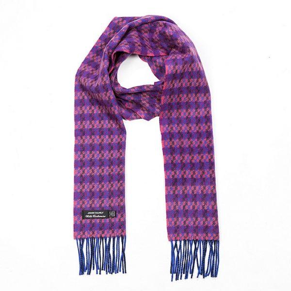 Irish Cashmere Wool Scarf Blue Salmon Purple Check