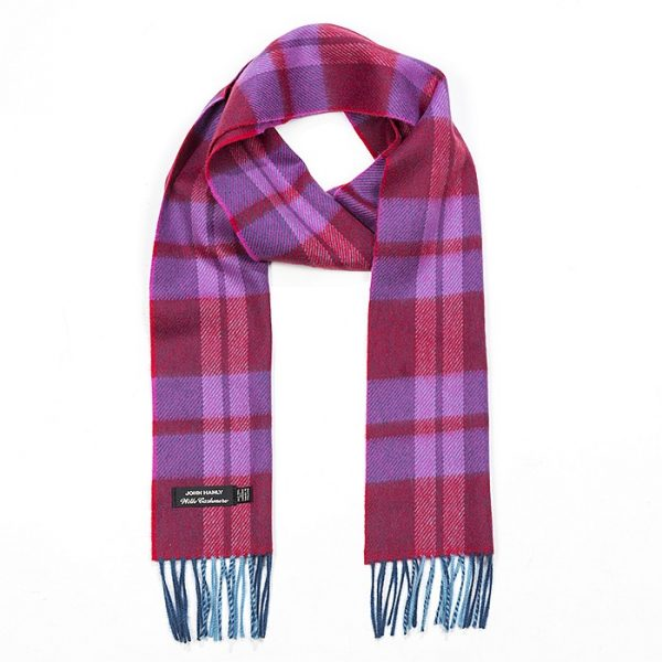 Irish Cashmere Wool Scarf Red Pink Plaid