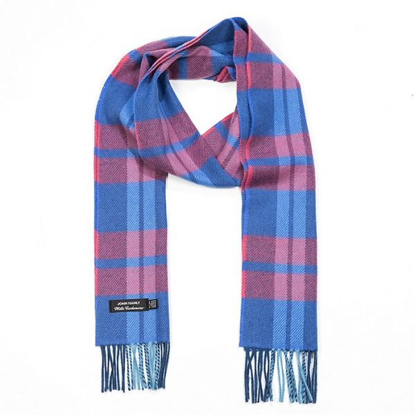 Irish Cashmere Wool Scarf Blue Pink Plaid