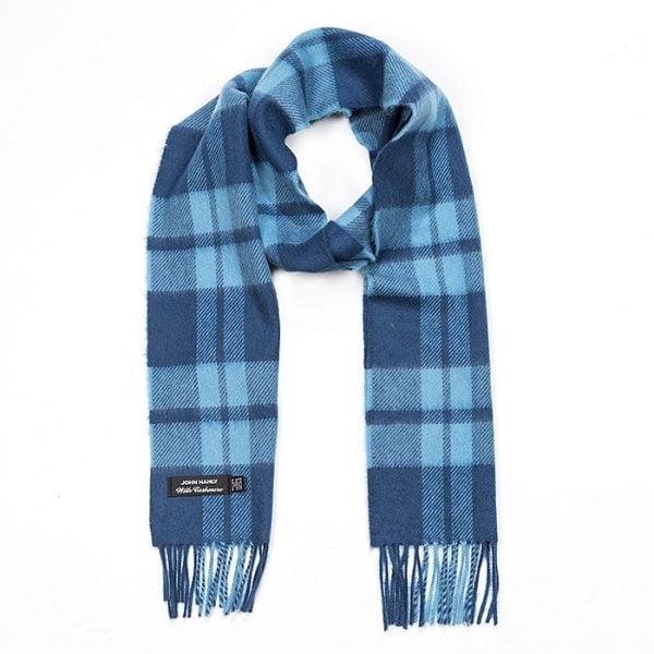 Irish Cashmere Wool Scarf Indigo Aqua Plaid