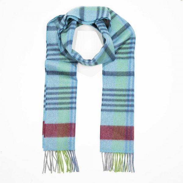 Irish Cashmere Wool Scarf Grey Blue Burgundy Check