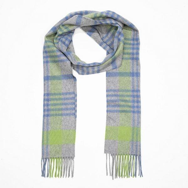 Irish Cashmere Wool Scarf Grey Green Blue Check