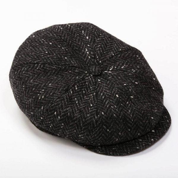 Peaky Blinders Cap Charcoal Black Herringbone Donegal