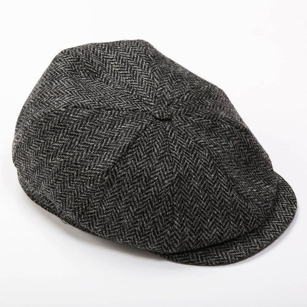Peaky Blinders Cap Charcoal Black Herringbone | John Hanly ...