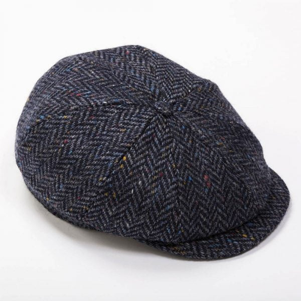 Eight Piece Newsboy Cap Navy Herringbone Donegal