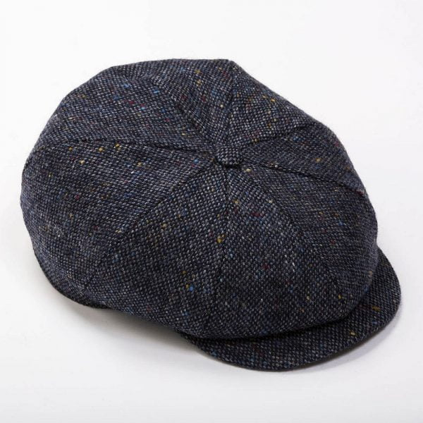 Eight Piece Newsboy Cap Navy Plain Donegal