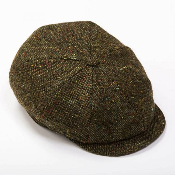 Eight Piece Newsboy Cap Green Brown Donegal