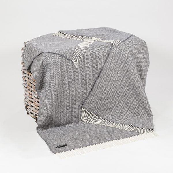 Oversize Cashmere Throw Grey Herringbone